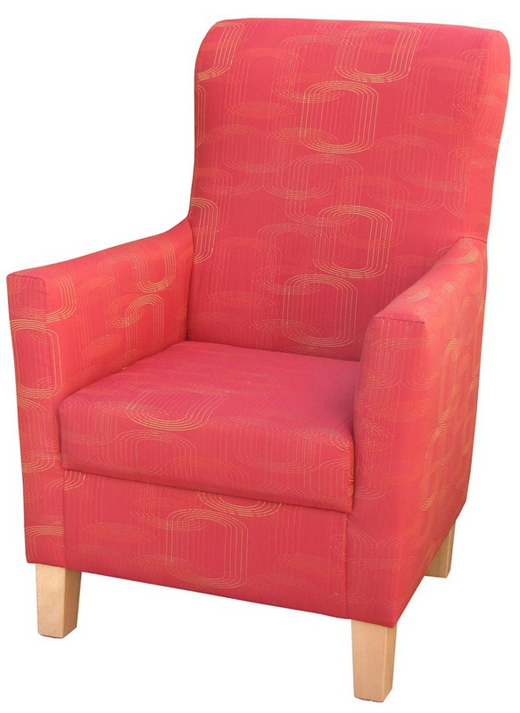 Lounge Aged Care Mercedes Lounge Chair Red Fabric