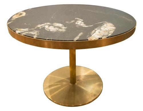 Retirement Dining Laurent Brass and Marble Table