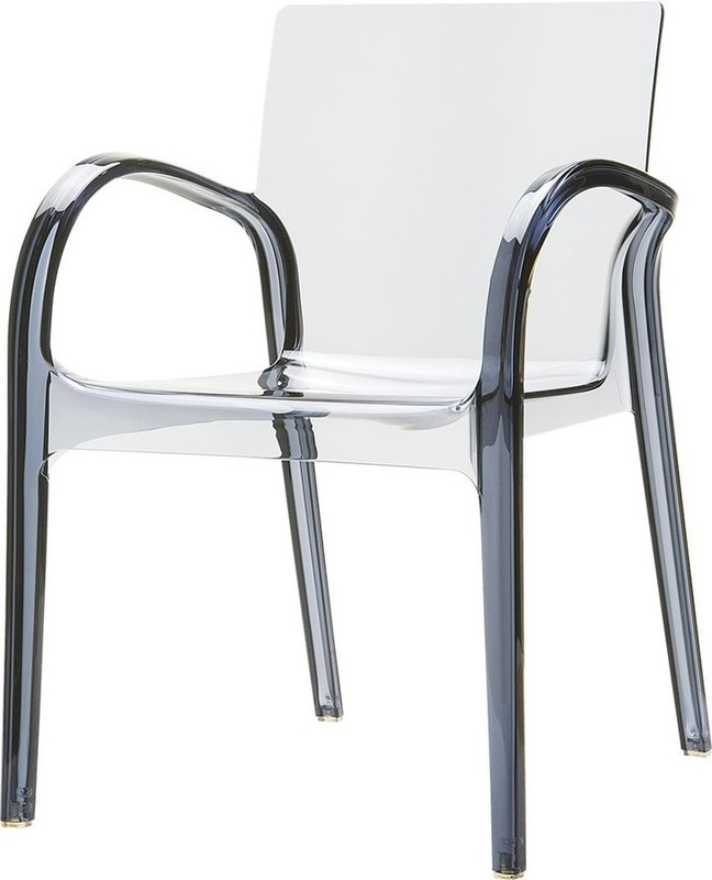 Dining Healthcare Aged Care Dejavu Chair, Smoke Grey Transparent