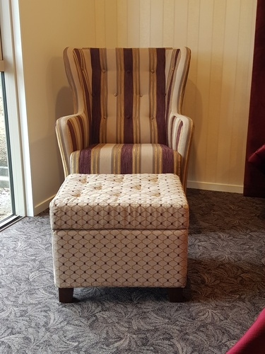 Aged Care Lounge Albany Wing Back Chair with Buttoning with ottoman
