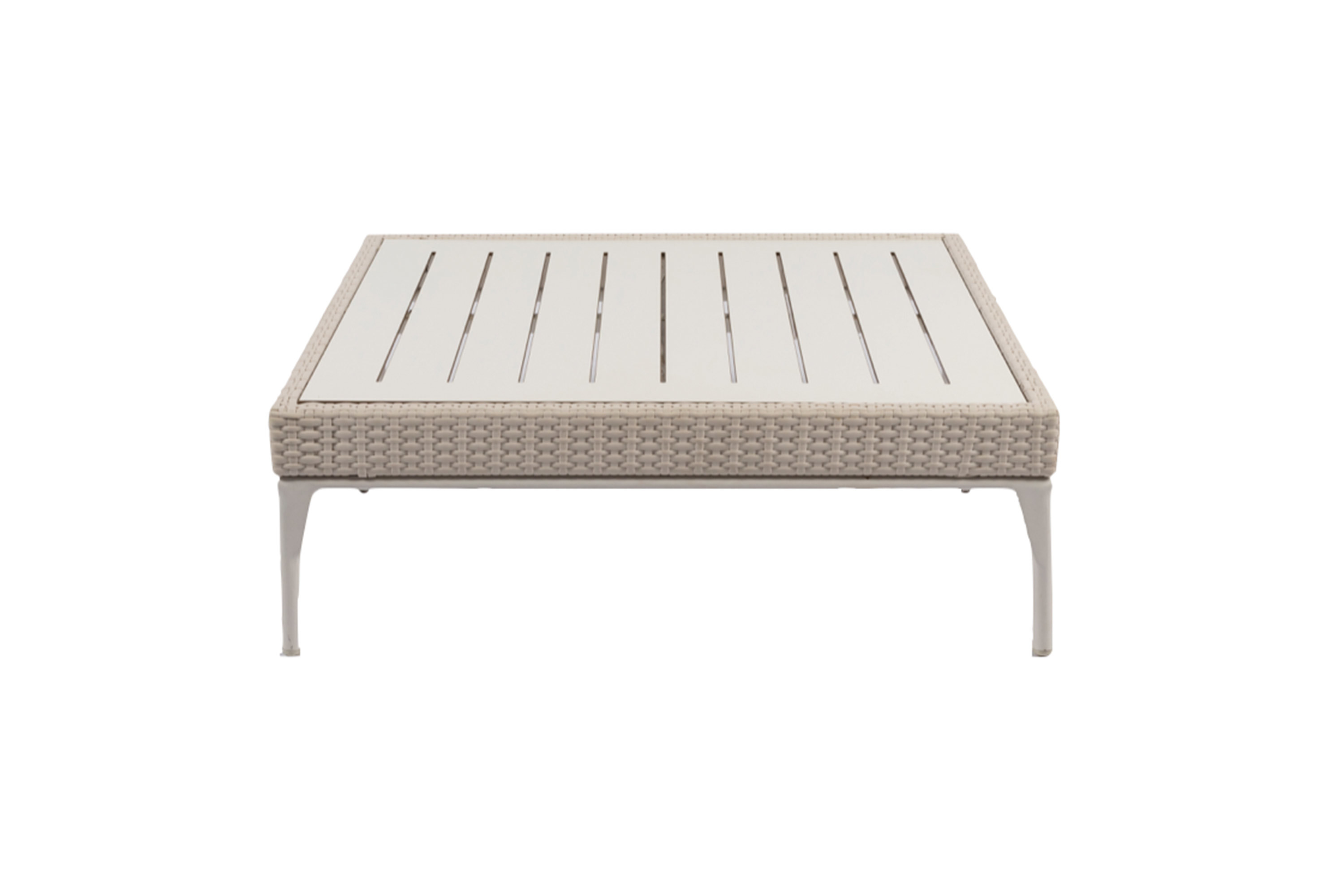 Picture of: White Rattan Low Coffee Table Small 90cmsq The Event Mill