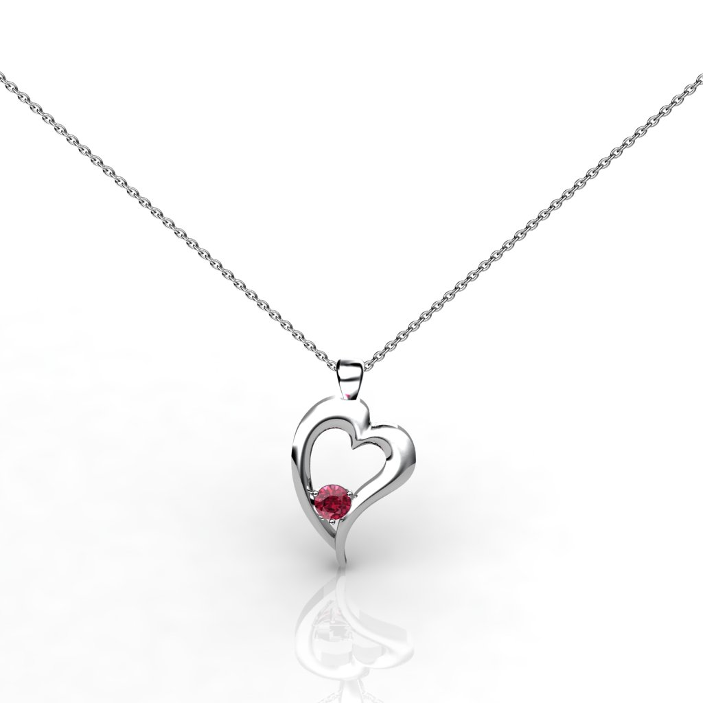 "Vogue ""A Heart Full of Love"" Garnet Necklace Pendant in Sterling Silver_image1"