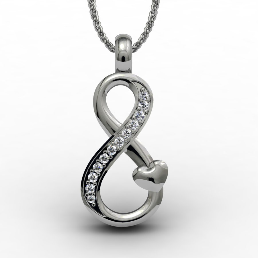 This is the true infinity love necklace. If you need a really beautiful infinity Image3Description go for this.\nThis everyday pendant can be worn in occation. This pendant is Image3Descriptioned in Australia and finely fabricated under the direct supervision of Brilliyond.\nThis is 3D printed and casted from 3D computer models to preserve the Image3Description as it is.\nFor the premium quality craftsmanship, the Image4Descriptions are manually set by hand and then the entire piece is hand