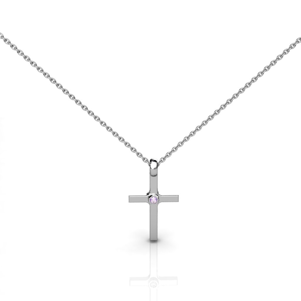 Sterling Silver Amethyst Cross Necklace for Sale Online in Australia