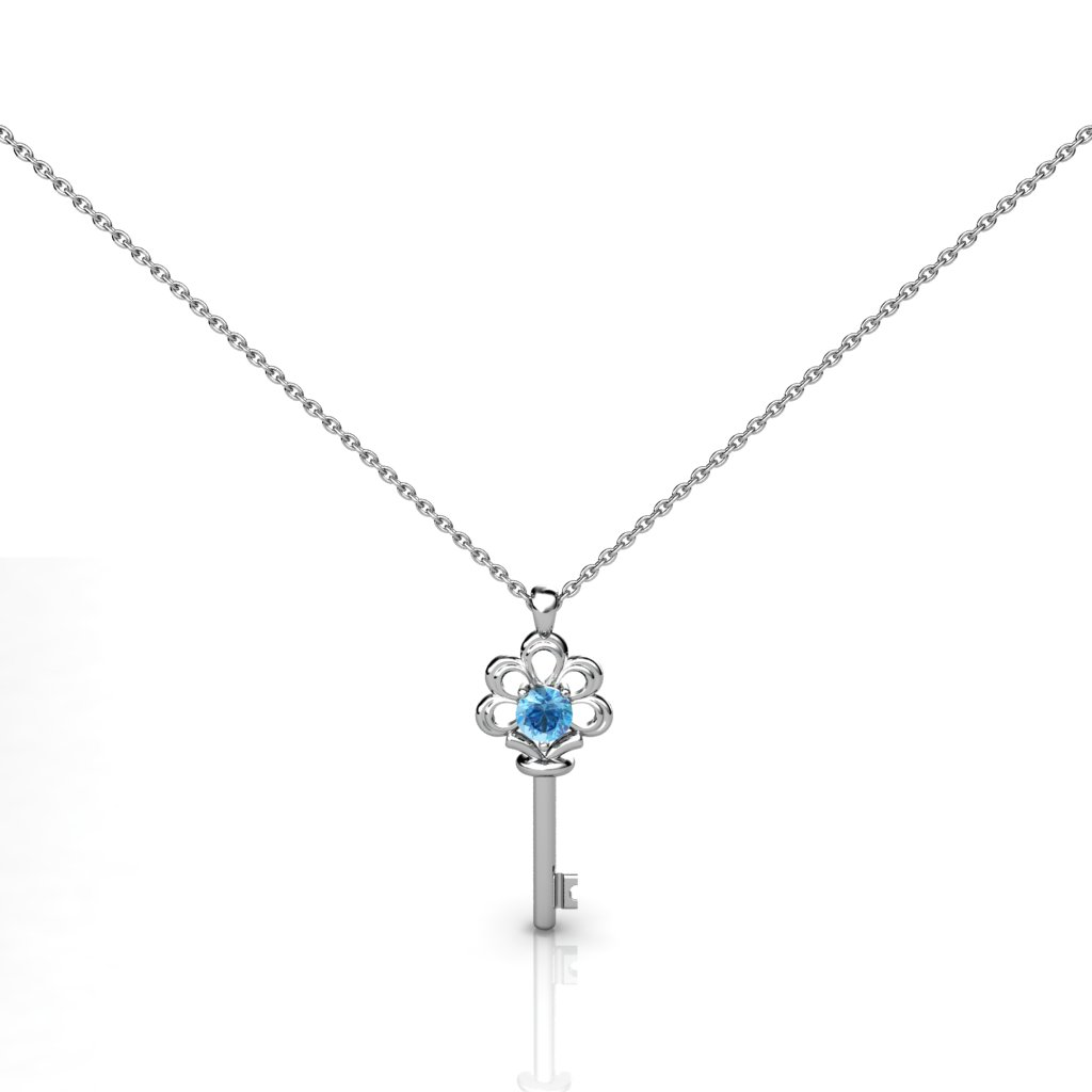 Blue Topaz Crown Key Necklace Pendant in Sterling Silver_image1