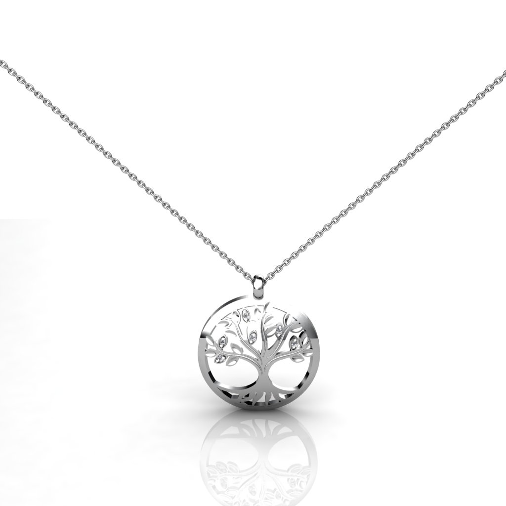 White Sapphire Tree Necklace made of Sterling Silver