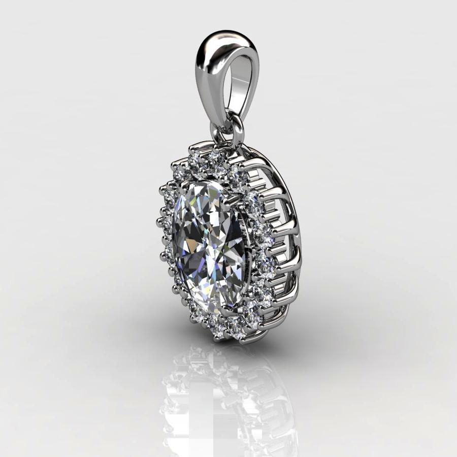 Genuine Natural White Topaz Elliptic Cluster Pendant_image1