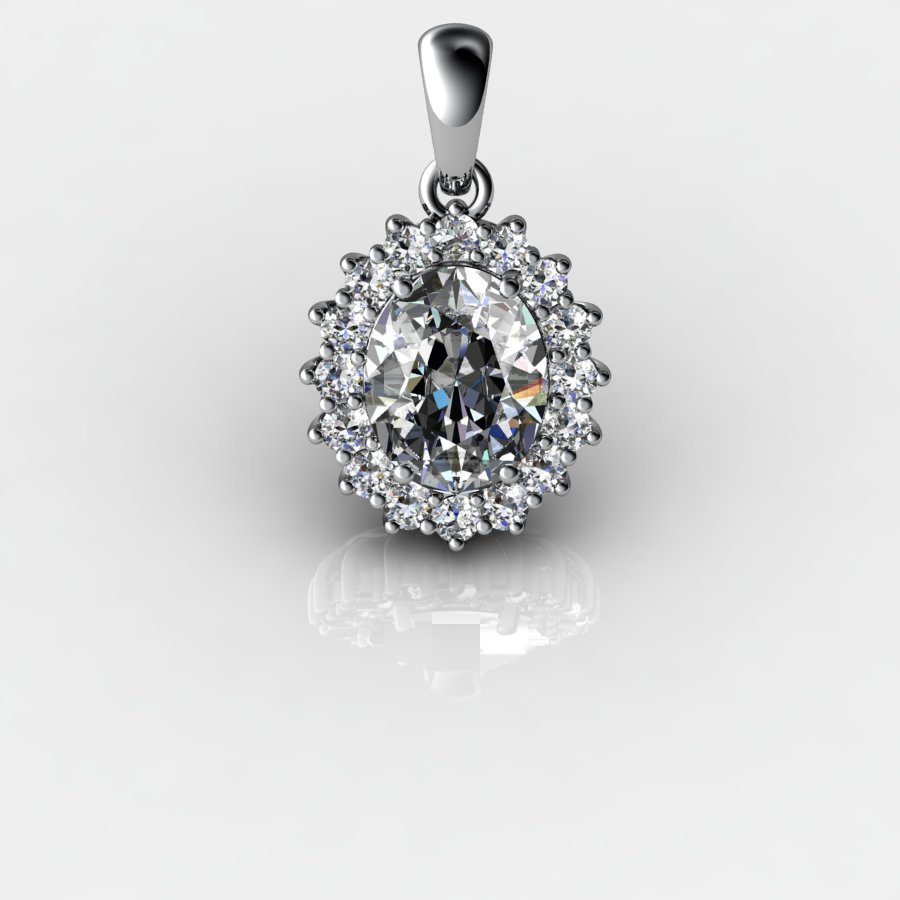 Genuine Natural White Topaz Elliptic Cluster Pendant_image3
