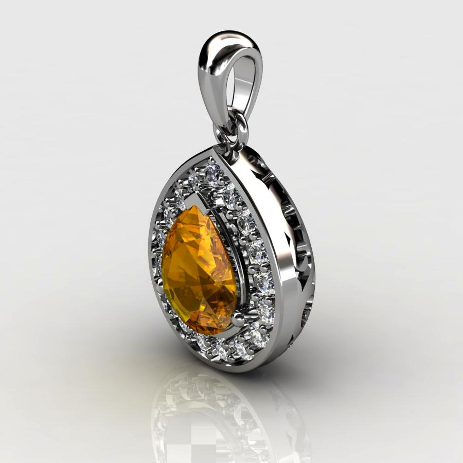 Genuine Natural Citrine Teardrop Pave Pendant_image1