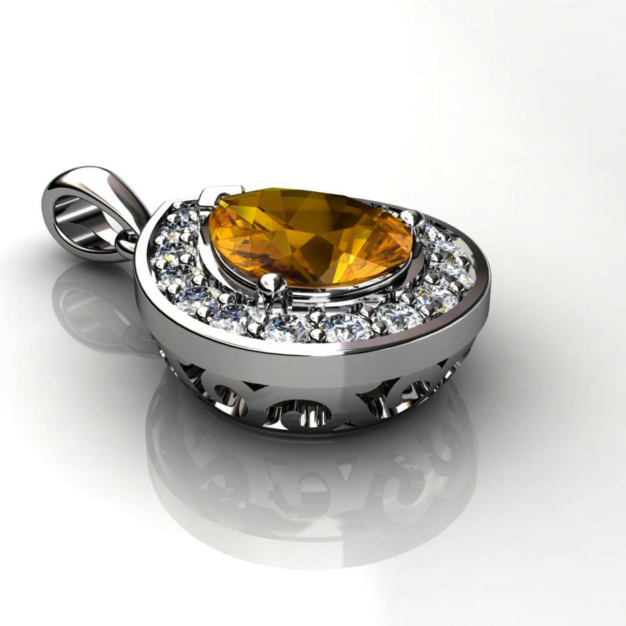 Genuine Natural Citrine Teardrop Pave Pendant_image2