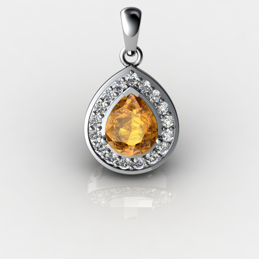 Genuine Natural Citrine Teardrop Pave Pendant_image3