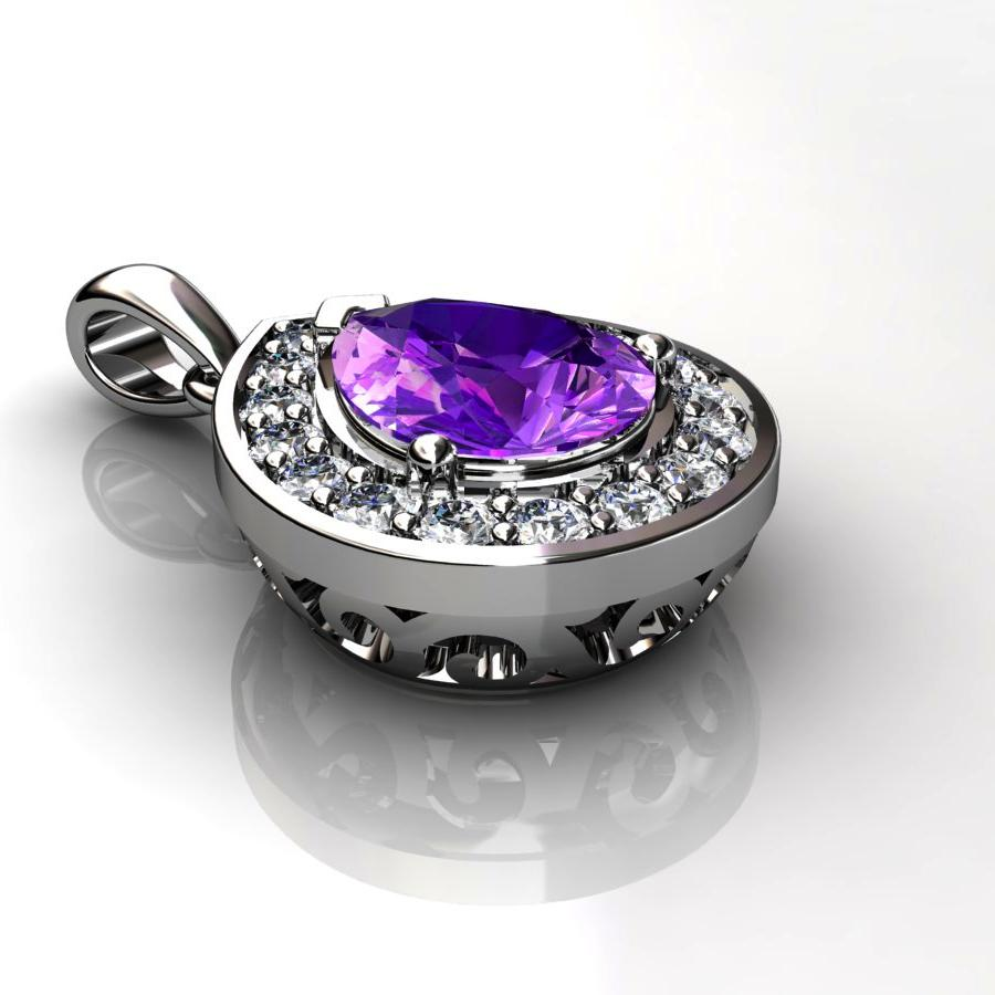 Genuine Natural Amethyst Tear Drop Pave Pendant_image2