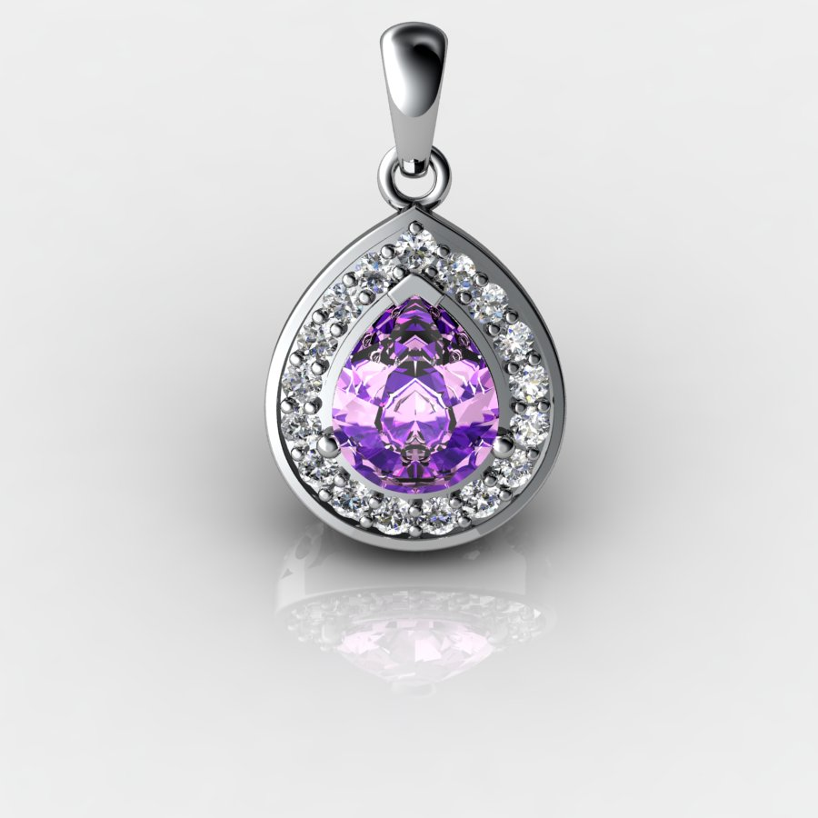 Genuine Natural Amethyst Tear Drop Pave Pendant_image3