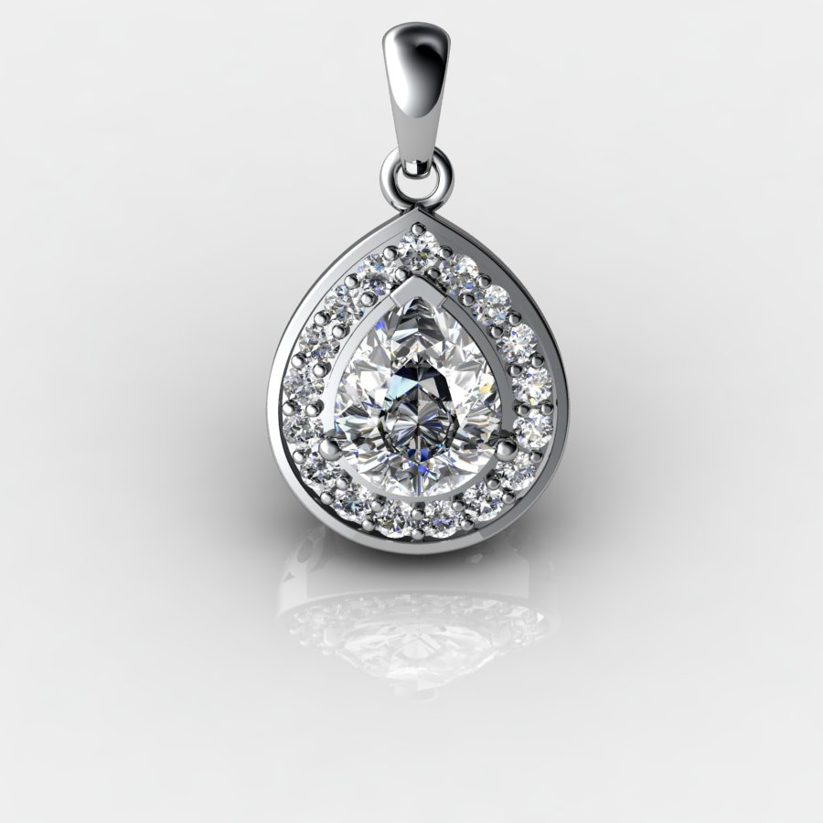 Genuine Natural White Topaz Teardrop Pave Pendant_image3