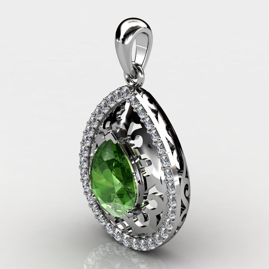 Genuine Natural Peridot Teardrop Lace Pendant_image1