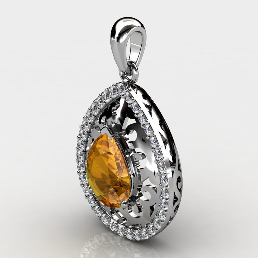 Genuine Natural Citrine Teardrop Lace Pendant_image3