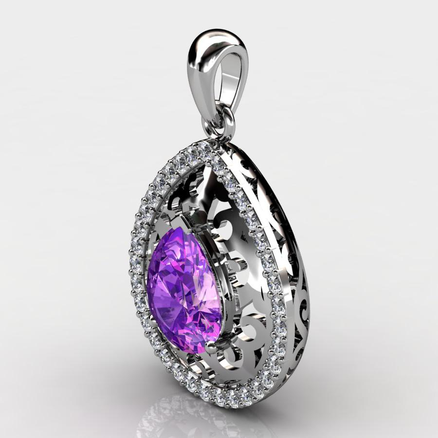 Genuine Natural Amethyst Teardrop Lace Pendant_image1