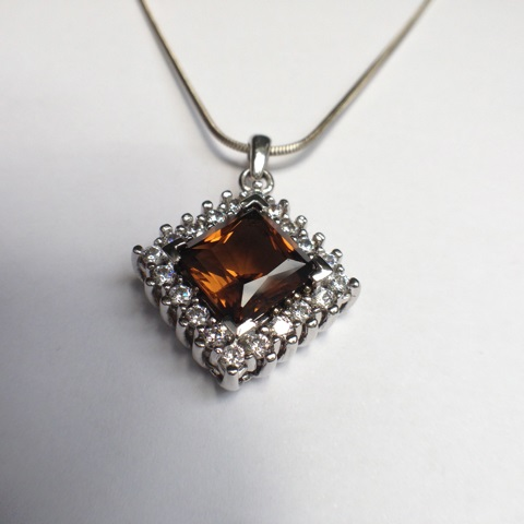 Genuine Natural Dark Brown Citrine Squarish Cluster Pendant_image1