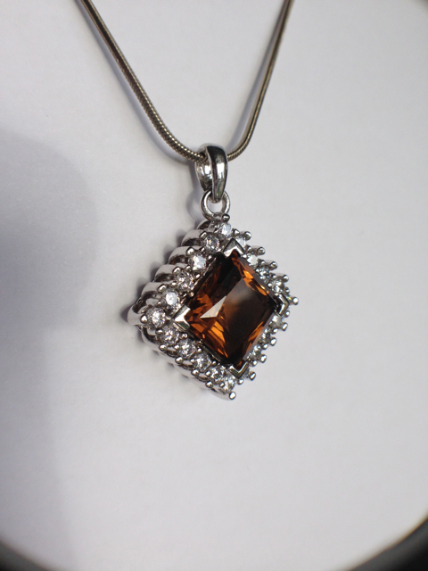 Genuine Natural Dark Brown Citrine Squarish Cluster Pendant_image2
