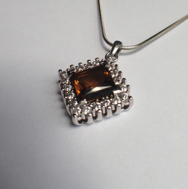 Genuine Natural Dark Brown Citrine Squarish Cluster Pendant_image3