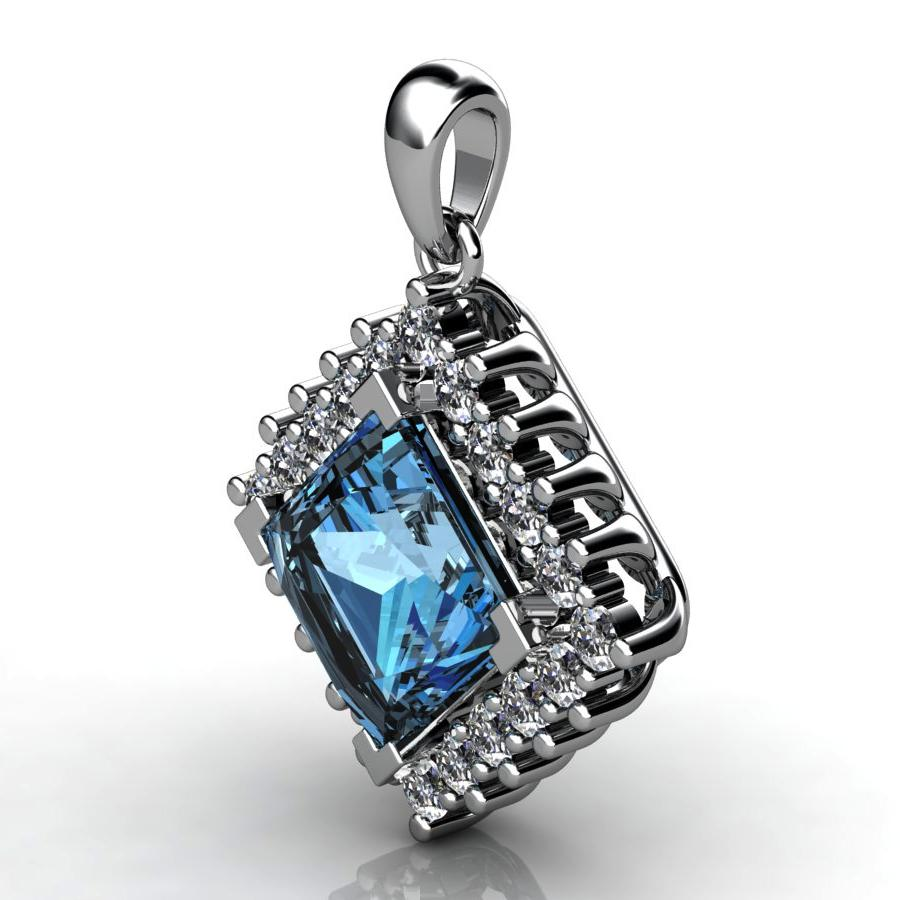 Genuine Natural Blue Topaz Squarish Cluster Pendant_image1
