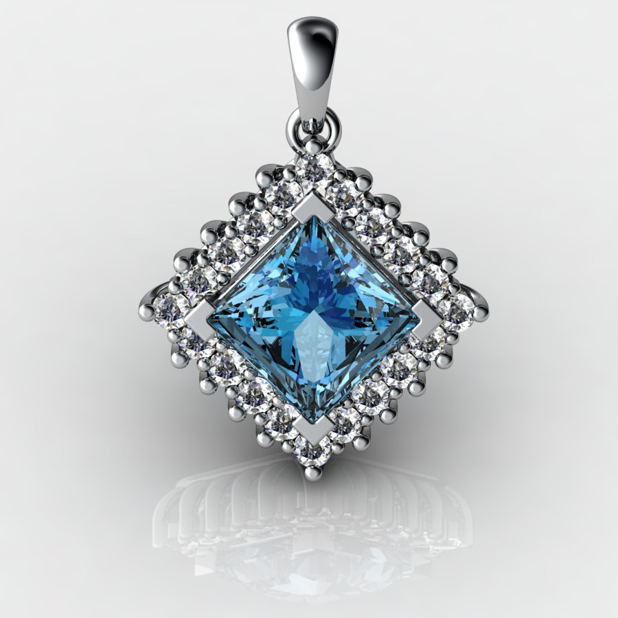 Genuine Natural Blue Topaz Squarish Cluster Pendant_image2