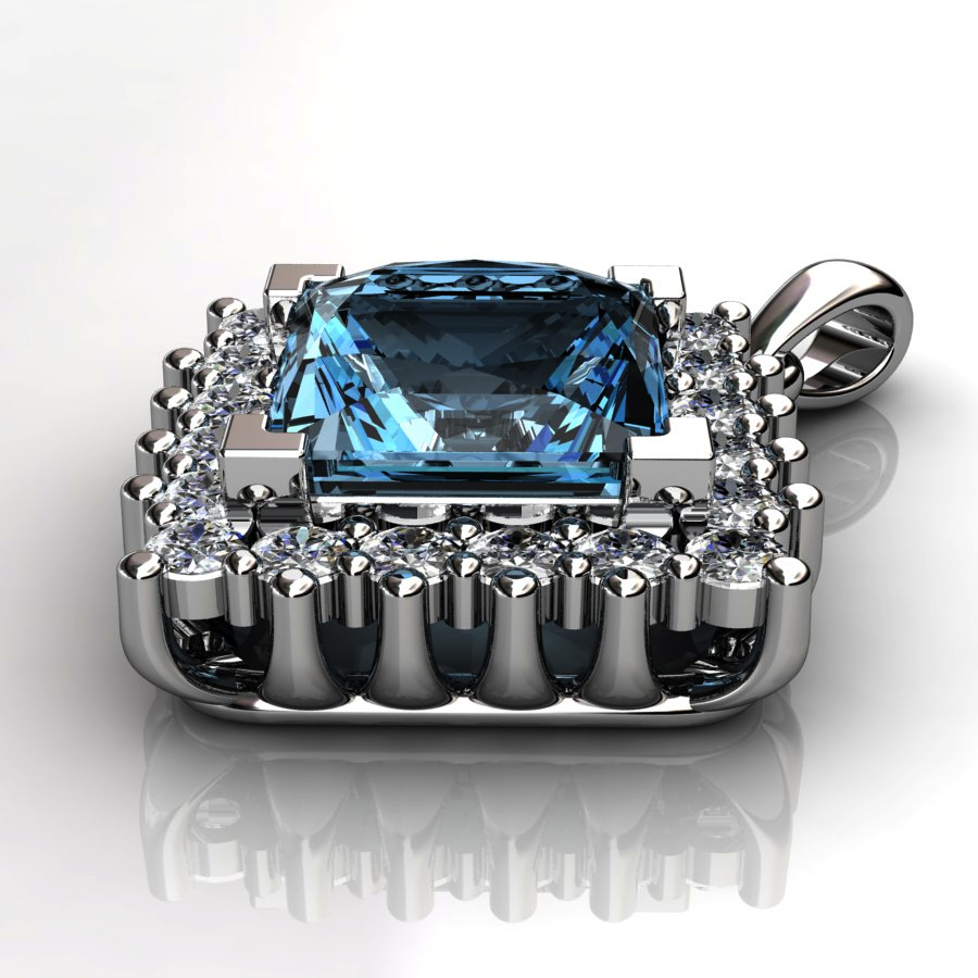Genuine Natural Blue Topaz Squarish Cluster Pendant_image3