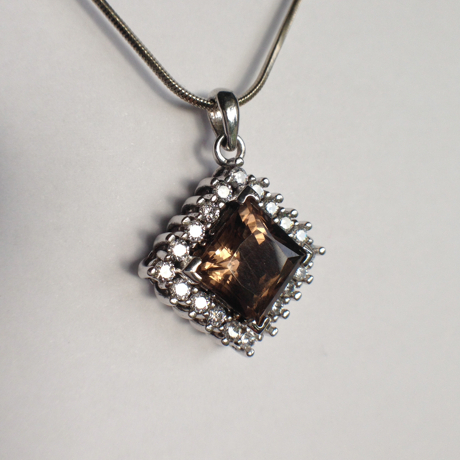 Genuine Natural Light Brown Citrine Squarish Cluster Pendant_image1