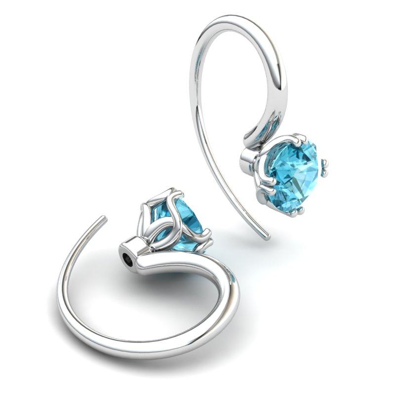 Blue Topaz Braid Round Hook Earrings_image1