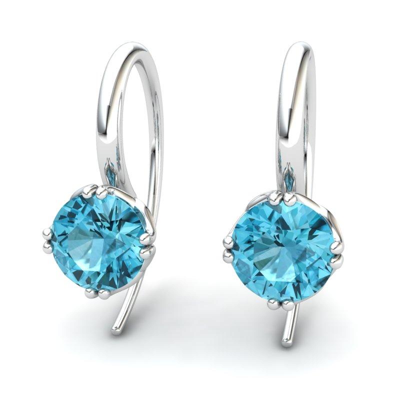 Blue Topaz Braid Round Hook Earrings_image2