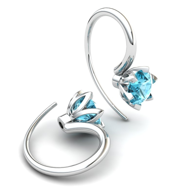Blue Topaz Candia Tulip Hook Earrings_image1
