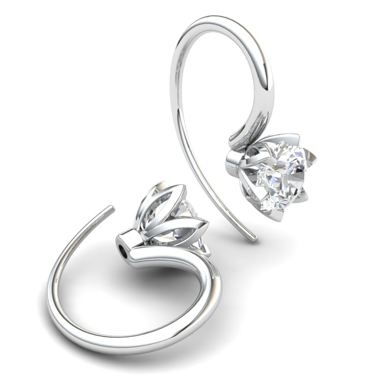 White Topaz Candia Tulip Hook Earrings_image1