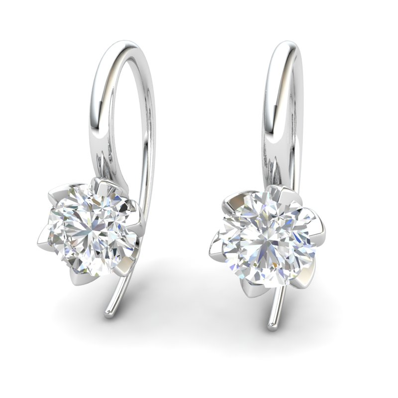 White Topaz Candia Tulip Hook Earrings_image2