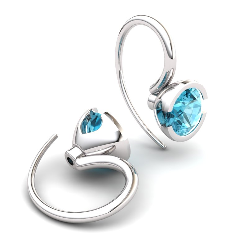 Blue Topaz The Eye of Venus Hook Earrings_image1
