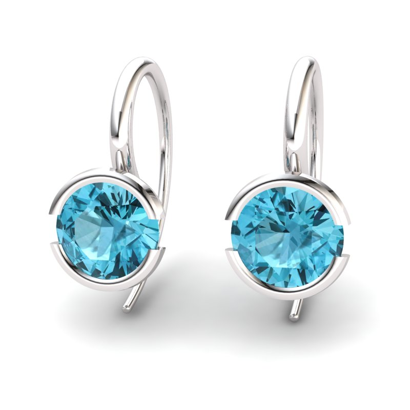 Blue Topaz The Eye of Venus Hook Earrings_image2