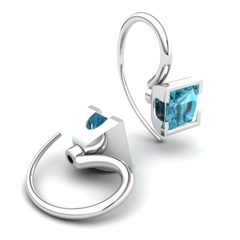 Blue Topaz Watchtower Hook Earrings_image1