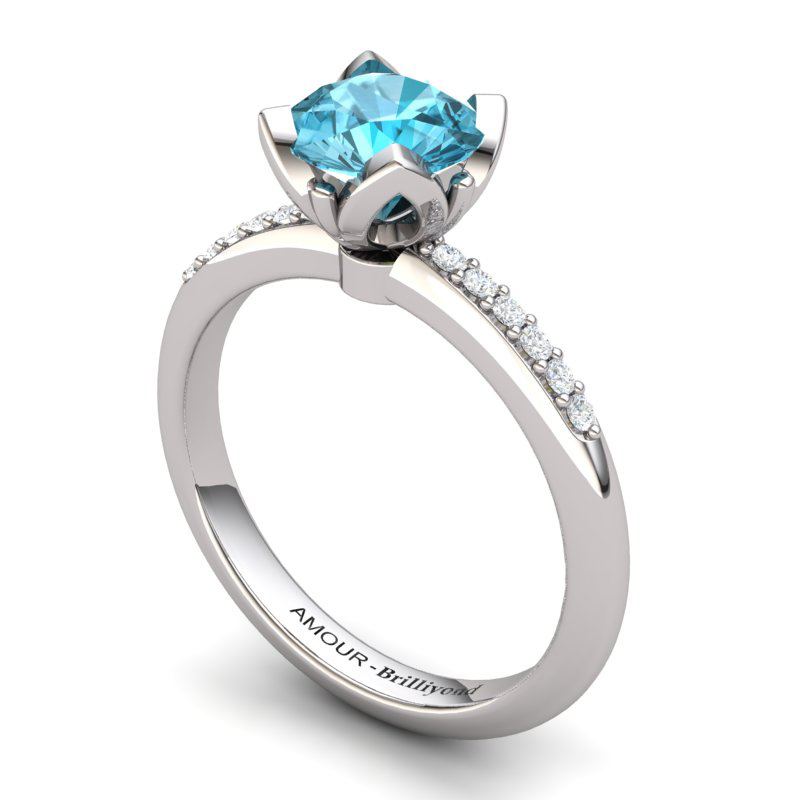 Blue Topaz Elite Lilac Wonder Tulip Solitaire Ring_image2