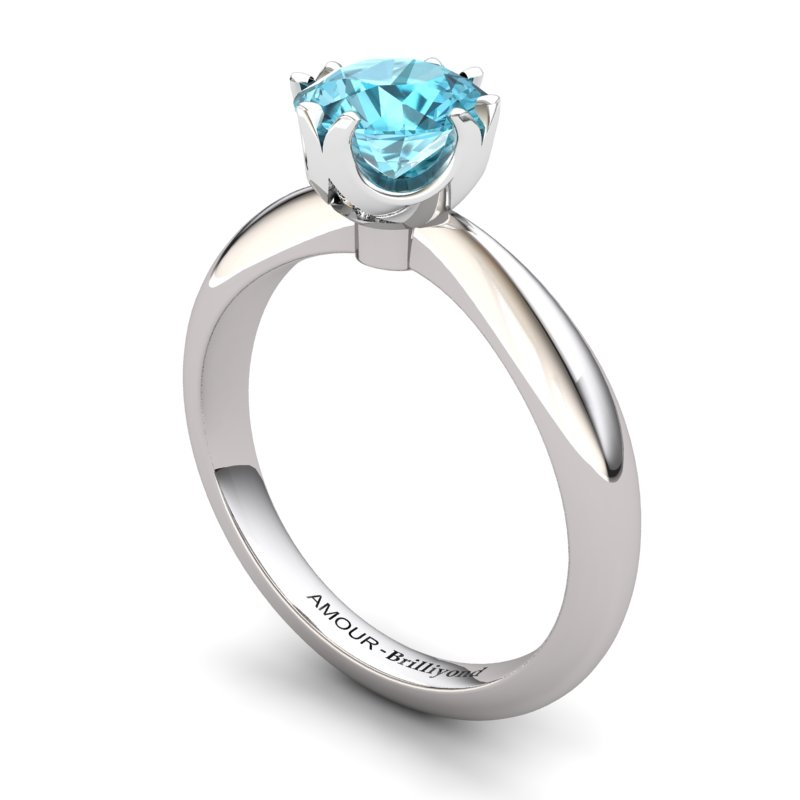 Blue Topaz Artisanal Queen of Night Solitaire Ring_image1