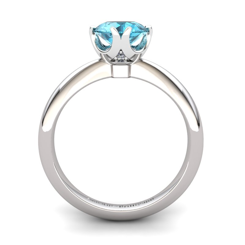 Blue Topaz Artisanal Queen of Night Solitaire Ring_image2