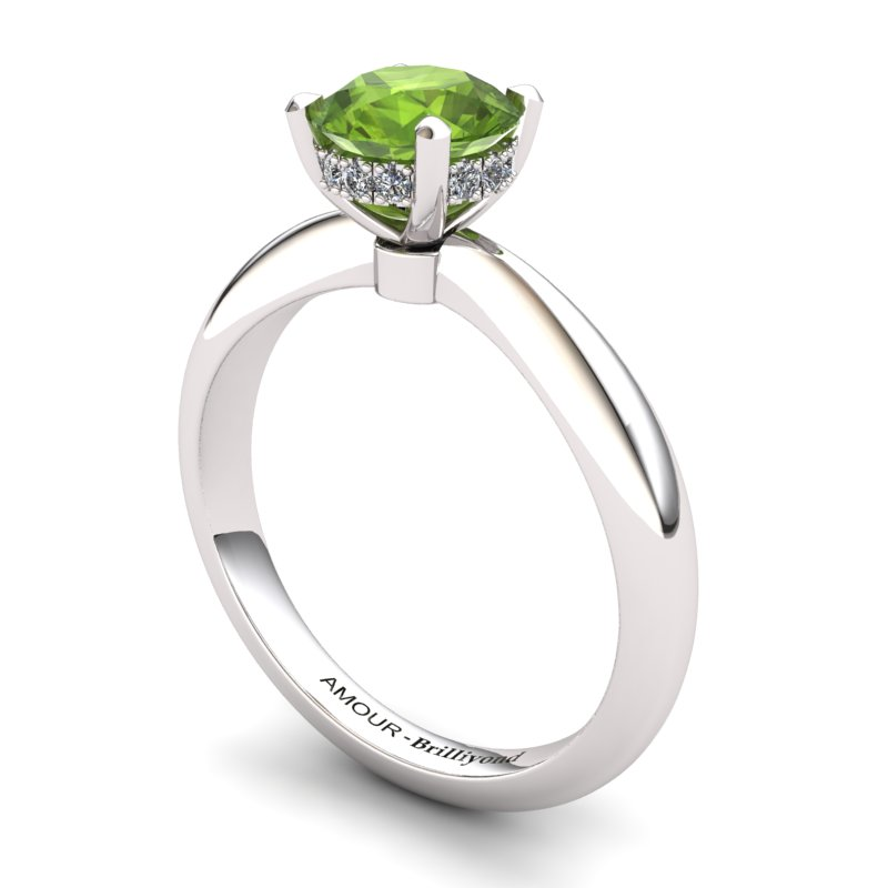 Peridot Artisanal Floral Crown Solitaire Silver Engagement Ring_image1