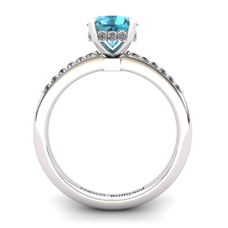Blue Topaz Elite Floral Crown Solitaire Silver Engagement Ring_image2