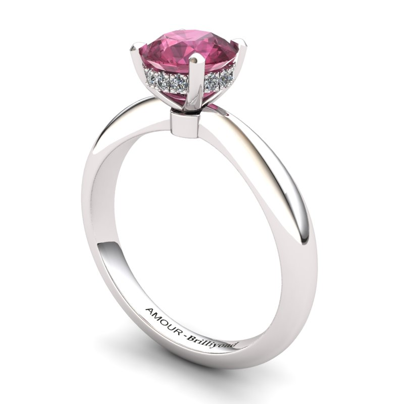 Garnet Artisanal Floral Crown Solitaire Silver Engagement Ring_image2