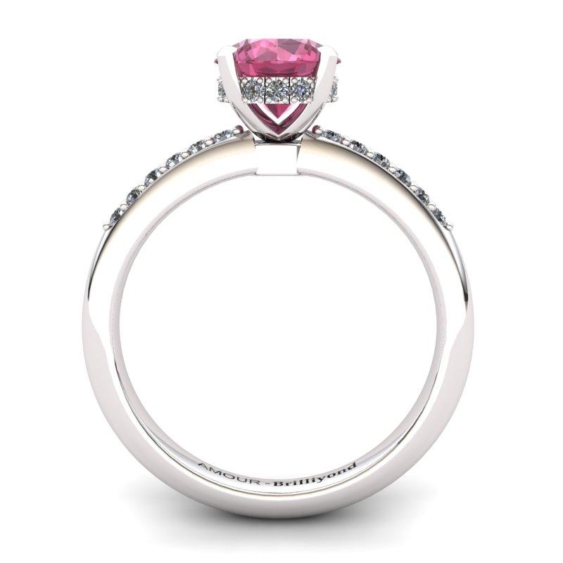 Garnet Elite Floral Crown Solitaire Silver Engagement Ring_image1