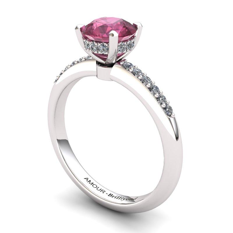 Garnet Elite Floral Crown Solitaire Silver Engagement Ring_image2