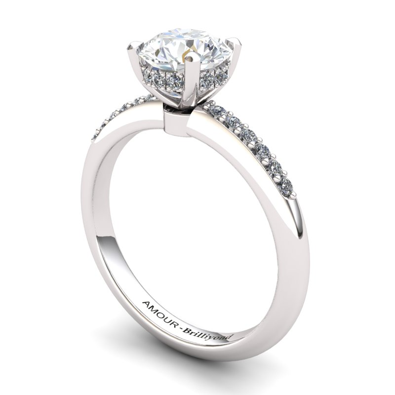 White Topaz Elite Floral Crown Solitaire Silver Engagement Ring_image1