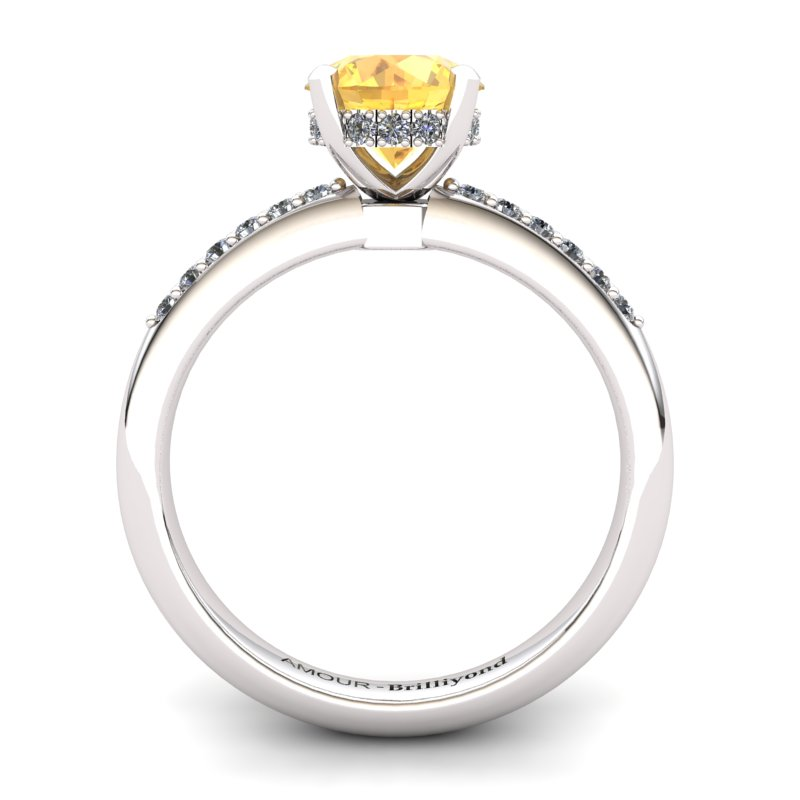 Citrine Elite Floral Crown Solitaire Silver Engagement Ring_image1