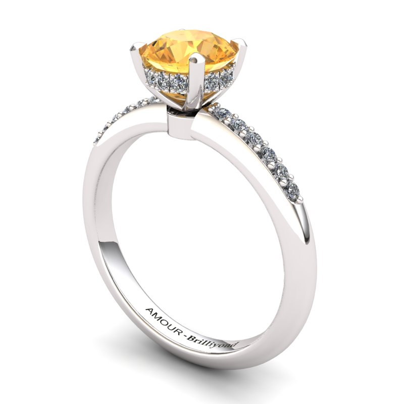 Citrine Elite Floral Crown Solitaire Silver Engagement Ring_image2