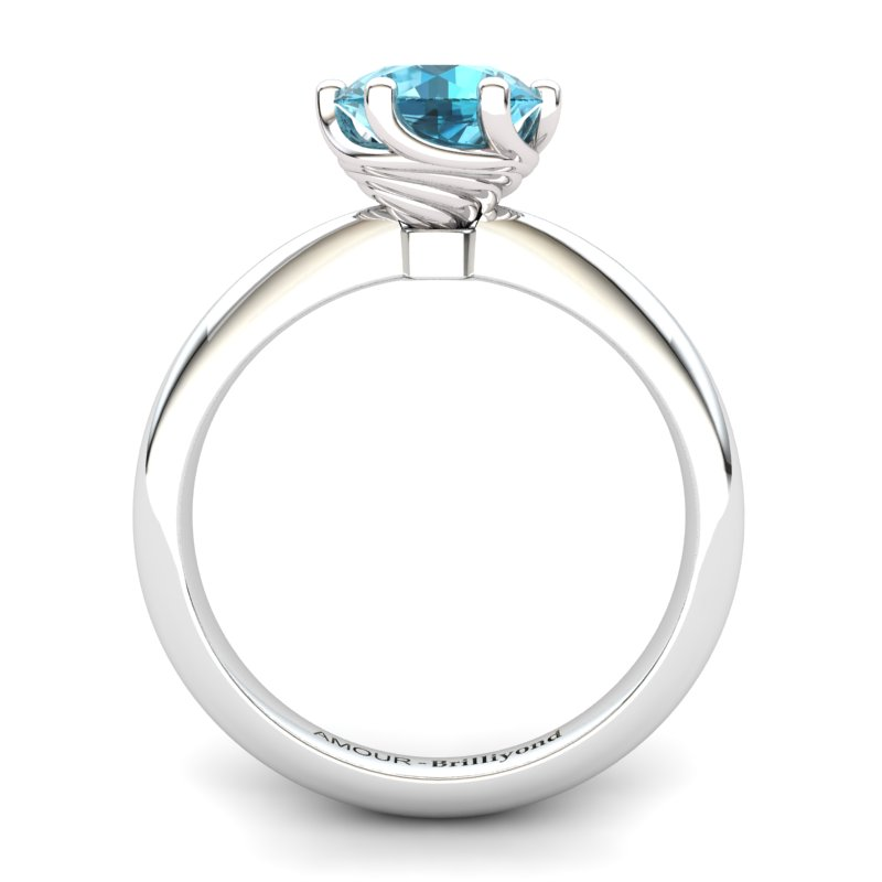 Blue Topaz Artisanal Eye of Cyclone Solitaire Ring_image1