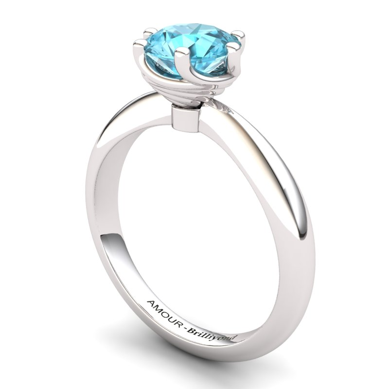 Blue Topaz Artisanal Eye of Cyclone Solitaire Ring_image2