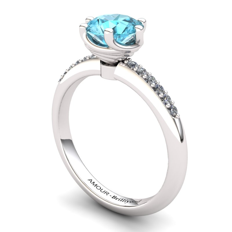 Blue Topaz Elite Eye of Cyclone Solitaire Ring_image1